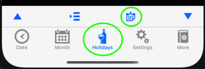 Holidays Tab, Export Button